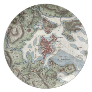 Vintage Map of Boston Harbor (1807) Dinner Plates