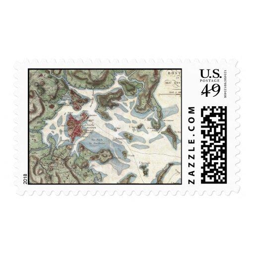 Vintage Map of Boston Harbor (1807) Postage Stamp