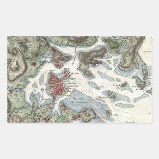 Vintage Map of Boston Harbor (1807) Rectangular Sticker