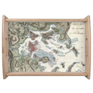 Vintage Map of Boston Harbor (1807) Serving Tray