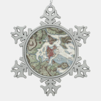 Vintage Map of Boston Harbor (1807) Snowflake Pewter Christmas Ornament