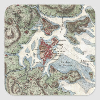 Vintage Map of Boston Harbor (1807) Square Sticker
