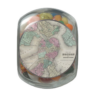 Vintage Map of Boston Harbor (1857) Jelly Belly Candy Jar