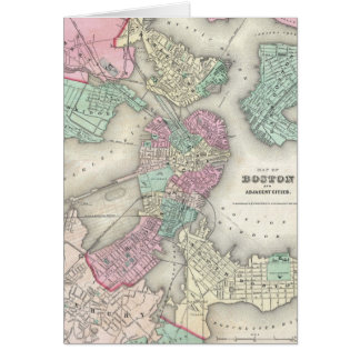 Vintage Map of Boston Harbor (1857) Card