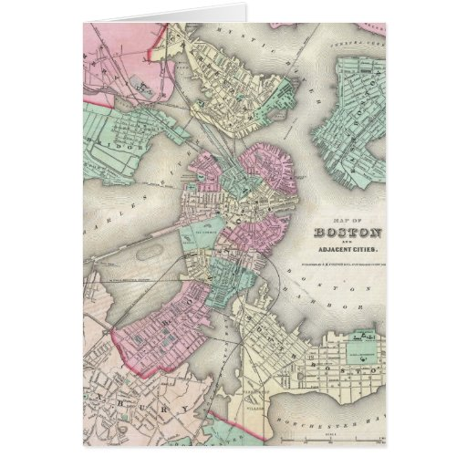 Vintage Map of Boston Harbor (1857) Card
