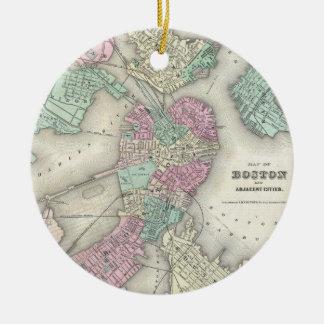 Vintage Map of Boston Harbor (1857) Ceramic Ornament