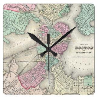 Vintage Map of Boston Harbor (1857) Wall Clocks