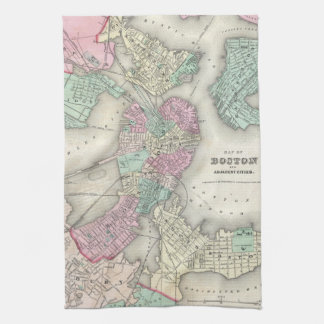 Vintage Map of Boston Harbor (1857) Hand Towel