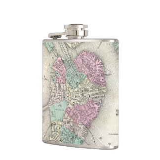 Vintage Map of Boston Harbor (1857) Hip Flask