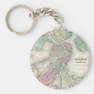 Vintage Map of Boston Harbor (1857) Keychain