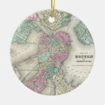 Vintage Map of Boston Harbor (1857) Double-Sided Ceramic Round Christmas Ornament