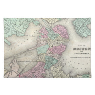 Vintage Map of Boston Harbor (1857) Place Mat
