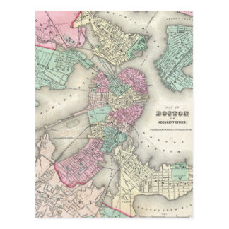 Vintage Map of Boston Harbor (1857) Post Card