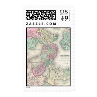 Vintage Map of Boston Harbor (1857) Postage Stamp