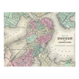 Vintage Map of Boston Harbor (1857) Postcards
