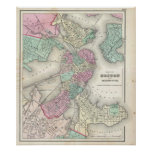 Vintage Map of Boston Harbor (1857) Poster