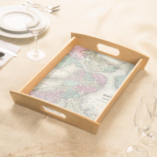 Vintage Map of Boston Harbor (1857) Serving Tray