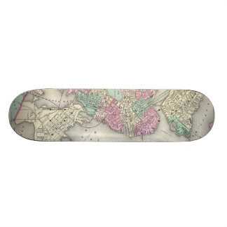Vintage Map of Boston Harbor (1857) Skateboard