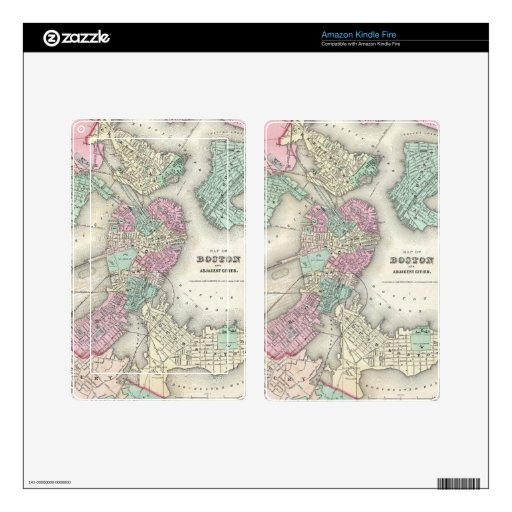 Vintage Map of Boston Harbor (1857) Decal For Kindle Fire