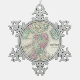 Vintage Map of Boston Harbor (1857) Snowflake Pewter Christmas Ornament