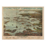 Vintage Map of Boston Harbor Poster