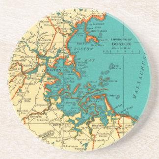 Vintage Map of BOSTON MASS Coaster Beermat