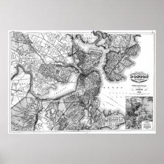 Vintage Map of Boston Massachusetts (1871) BW Poster