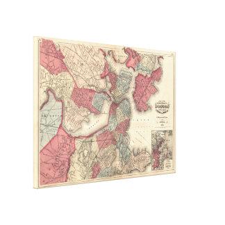 Vintage Map of Boston Massachusetts (1871) Canvas Print