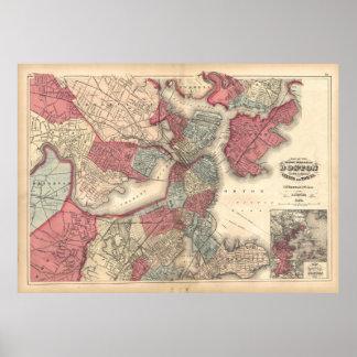 Vintage Map of Boston Massachusetts (1871) Poster