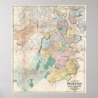 Vintage Map of Boston Massachusetts (1896) Poster