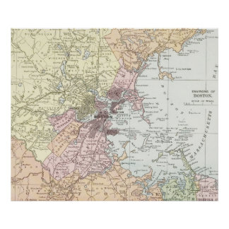 Vintage Map of Boston Massachusetts (1903) Pale Poster