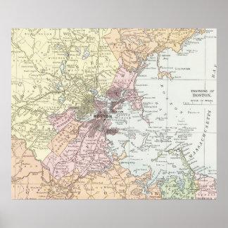 Vintage Map of Boston Massachusetts (1903) Pale Poster