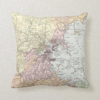 Vintage Map of Boston Massachusetts (1903) Pale Throw Pillow