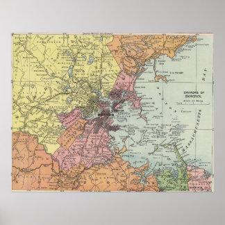 Vintage Map of Boston Massachusetts (1903) Poster