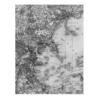 Vintage Map of Boston Postcard