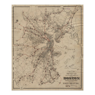 Vintage Map of Boston Railroads (1876) Poster