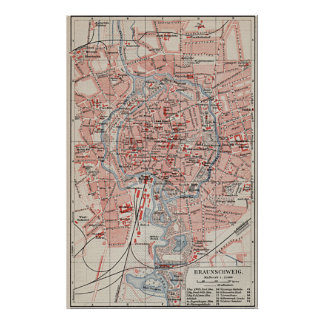 Vintage Map of Braunschweig Germany (1905) Poster