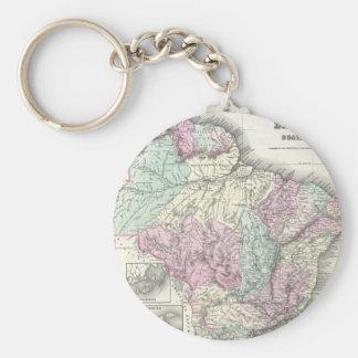 Vintage Map of Brazil (1855) Basic Round Button Keychain