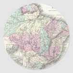 Vintage Map of Brazil (1855) Classic Round Sticker