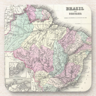 Vintage Map of Brazil (1855) Drink Coaster