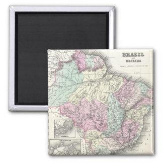 Vintage Map of Brazil (1855) Fridge Magnet