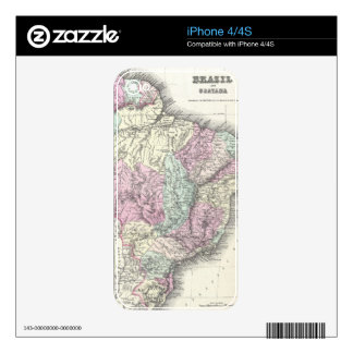 Vintage Map of Brazil (1855) Decal For The iPhone 4S