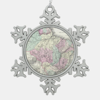 Vintage Map of Brazil (1855) Snowflake Pewter Christmas Ornament