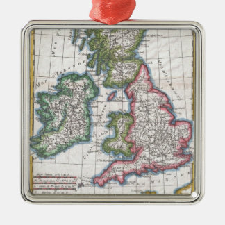 Vintage Map of British Isles (1780) Square Metal Christmas Ornament