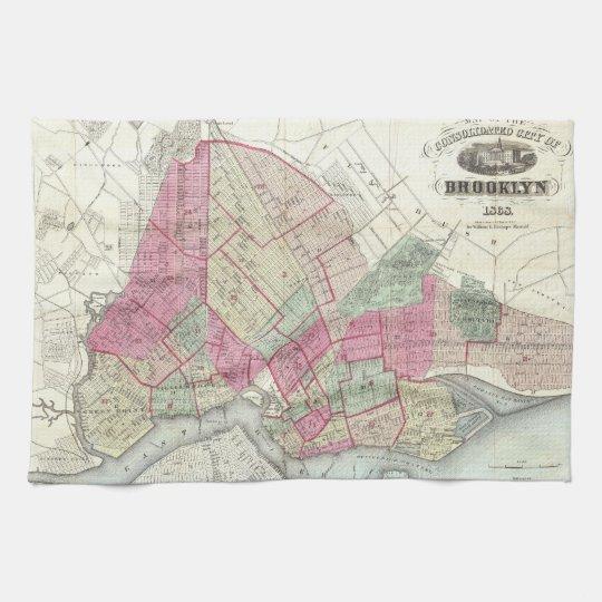 Vintage Map of Brooklyn (1868) Kitchen Towel