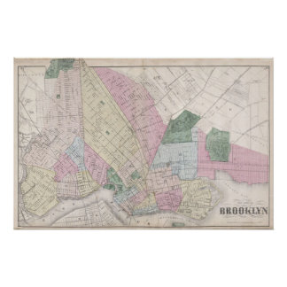 Vintage Map of Brooklyn (1873) Poster