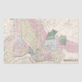 Vintage Map of Brooklyn (1873) Rectangular Sticker