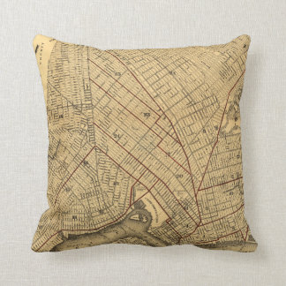 Vintage Map of Brooklyn New York (1874) Throw Pillow