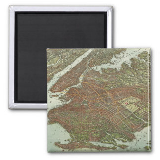 Vintage Map of Brooklyn NY (1908) 2 Inch Square Magnet