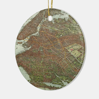 Vintage Map of Brooklyn NY (1908) Ceramic Ornament